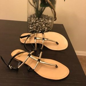 Dolce Vita Black and gold flat sandals